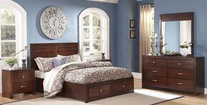 00060QSBDMNN Kensington 5 Piece Bedroom Set with Queen Storage Bed, Dresser, Mirror and Two Nightstands, in Burnished Cherry