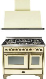 """2-Piece Antique White Kitchen Package with UMD1006DMPAY 40"""" Freestanding Dual Fuel Range (Oiled Bronze Trim, 6 Burners, Timer) and UAM100A 40"""" Wall Mount Range Hood"""