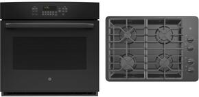"2-Piece Black Kitchen Package with JT5000DFBB 30"" Single Wall Oven and JGP329DETBB 30"" Gas Cooktop"