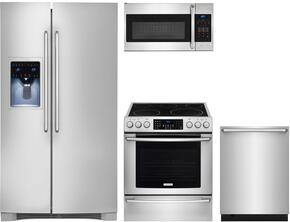 "4-Piece Kitchen Package with EI26SS30JS 36"" Bottom Freezer Refrigerator, EI30EF45QS 30"" Electric Freestanding Range, EI24ID50QS 24"" Built In Dishwasher and  EI30SM35QS 30"" Over The Range Microwave Oven Stainless Steel"