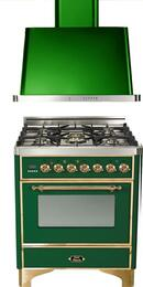"2-Piece Emerald Green Kitchen Package with UM76DVGGVS 30"" Freestanding Gas Range (Brass Trim, 5 Burners, Timer) and UAM76VS 30"" Wall Mount Range Hood"
