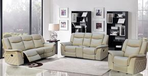 Carly 717691 3 Piece Living Room Set with Reclining Sofa + Reclining Loveseat and Reclining Chair in Taupe