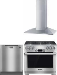 "3-Piece Kitchen Package with HR1134LP 36"" Freestanding Gas Range, PG8080I240V 24"" Built In Fully Integrated Dishwasher, and DA3996 36"" Wall Mount Ducted Hood in Stainless Steel"