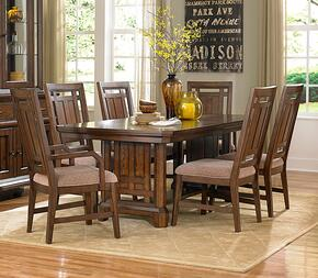 Estes Park 4364TT2AC4SC 7-Piece Dining Room Set with Trestle Table, 2 Upholstered Arm Chairs and 4 Upholstered Side Chairs in Artisan Oak Finish