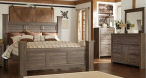 Juararo King Bedroom Set with Poster Bed, Dresser and Mirror in Dark Brown