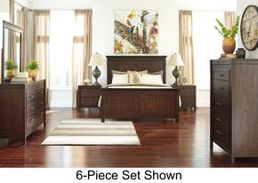 Timbol Queen Bedroom Set with Panel Bed, Dresser, Mirror, Nightstand and Chest in Warm Brown Finish