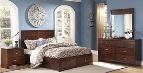 00060QSBDMN Kensington 4 Piece Bedroom Set with Queen Storage Bed, Dresser, Mirror and Nightstand, in Burnished Cherry