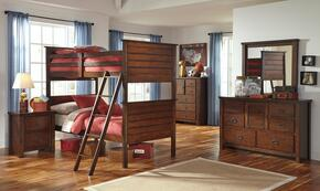 Ladiville Twin Bedroom Set with Bunk Bed, Dresser, Mirror and Nightstand in Rustic Brown