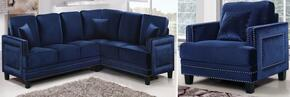 Ferrara 655NAVY-SS-C 2 Piece Living Room Set includes Sectional Sofa + Chair with Velvet Upholstery in Navy
