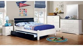 Kimmel Collection CM7626BLTBDMCN 5-Piece Bedroom Set with Twin Bed, Dresser, Mirror, Chest, and Nightstand in White and Blue Finish