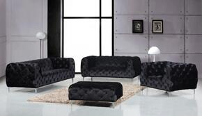 Mercer Collection 646-BL-S-L-C-O 4 Piece Living Room Set with Sofa + Loveseat + Chair and Ottoman in Black