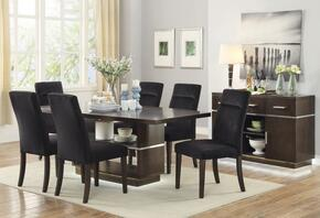 Lincoln Collection 106891TCS 8 PC Dining Room Set with Dining Table + 6 Side Chairs + Server in Dark Brown Finish