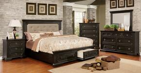 Roisin Collection CM7578QBEDSET 5 PC Bedroom Set with Queen Size Platform Bed + Dresser + Mirror + Chest + Nightstand in Wire-Brushed Black Finish