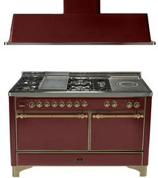 "2-Piece Burgundy Kitchen Package with UMC150FSDMPRBY 60"" Freestanding Dual Fuel Range (Oiled Bronze Trim, 5 Burners, Griddle, French Top) and UAM150RB 60"" Wall Mount Range Hood"