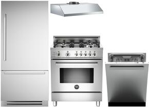 "4-Piece Stainless Steel Kitchen Package with REF30PIXR 30"" Bottom Freezer Refrigerator, PRO304DFSX 30"" Dual Fuel Range, KU30PRO1XV 30"" Wall Mount Hood, and DW24XT 24"" Fully Integrated Dishwasher"