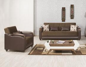 Divamax DISBACSDC Package Containing Sofabed and Convertible Armchair with Pillows, Storage Under the Seats, Bun Feet, Curved Arms and Woodlike/Polished Metal Accents: Sarp Dark Chocolate