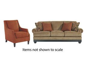 Elnora Collection 93702SAC 2-Piece Living Room Set with Sofa and Accent Chair in Umber and Cinnamon