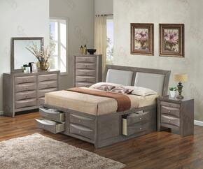 G1505IQSB4DMN 4 Piece Set including  Queen Size Bed, Dresser, Mirror and Nightstand in Gray