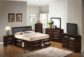 G1525ITSB4DMNCHTV2 6 Piece Set including  Twin Size Bed, Dresser, Mirror, Nightstand, Chest and Media Chest  in Cappuccino