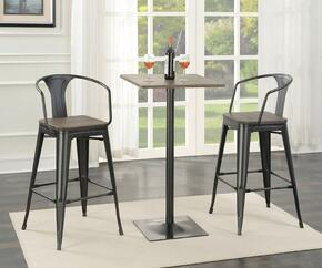 100730TS 3 PC Bar Table Set with Bar Table + 2 bar Stools in Dark Elm and Matte Black Finish