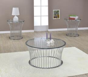 Katya 81100CE 3 PC Living Room Table Set with Coffee Table + 2 End Tables in Chrome Finish