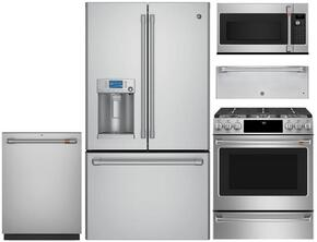 "5-Piece Stainless Steel Kitchen Package with CFE28USHSS 36"" French Door Refrigerator, C2S995SELSS 30"" Slide In Dual Fuel Range, CVM1750SHSS 30"" Microwave, CDT835SSJSS 24"" Dishwasher, and CW9000SJSS 30"" Warming Drawer"