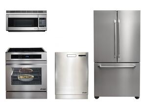 "Dacor Distinctive Series 4-Piece Stainless Steel kitchen Package With RNR30NFS 30"" Electric Freestanding Range, DTF36FCS 36"" French Door Refrigerator, PCOR30S 30"" Microwave and DDW24S 24"" Built In Dishwasher"