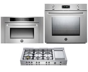 "Professional F30PROXT 30"" Single Electric Wall Oven 3 Piece Stainless Steel Kitchen Package with CB486G00X 48"" Gas Rangetop and SO24PROX Built In Microwave"