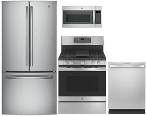 "4-Piece Stainless Steel Kitchen Package with GNE25JSKSS 33"" French-Door Refrigerator, JGB700SEJSS 30"" Freestanding Gas Range, GDT695SSJSS 24"" Fully Integrated Dishwasher and JVM7195SKSS 30"" Over-the-Range Microwave"