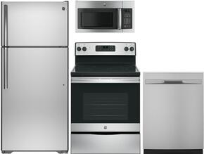 "4-Piece Stainless Steel Kitchen Package with GTS16GSHSS 28"" Top Freezer Refrigerator, JBS60RKSS 30"" Freestanding Electric Range, GDF510PSJSS 24"" Full Console Dishwasher and GDF510PSJSS 30"" Over-the-Range Microwave"