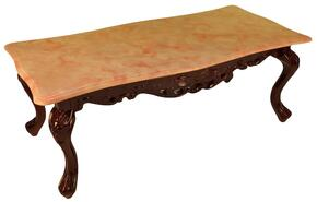 CF98RM3SET Transitional Style Cocktail Table with Rose Top Color and Mahogany Wood Finish Base + 2 End Tables