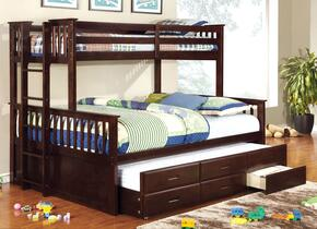 University CM-BK458Q-EXP-BED-TR Twin/Queen Bunk Bed with Trundle in Dark Walnut