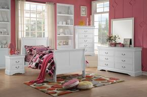 Louis Philippe III 24515T5PC Bedroom Set with Twin Size Bed + Dresser + Mirror + Chest + Nightstand in White Color