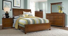 Hayden Place Collection 4 Piece Bedroom Set With King Size Sleigh Bed + 1 Nightstands + Dresser + Mirror: Light Cherry