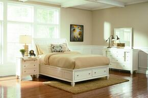 Sandy Beach Collection 201309QDMN 4 PC Bedroom Set with Queen Size Bed + Dresser + Mirror + Nightstand in White Finish