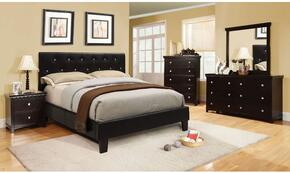 Velen Collection CM7949BKCKBDMCN 5-Piece Bedroom Set with California King Bed, Dresser, Mirror, Chest, and Nightstand in Black Color