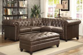 Roy 500268SET 2 PC Living Room Set with Sectional Sofa + Ottoman in Brown Color
