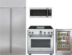 "4-Piece Stainless Steel Kitchen Package with ZISS480NKSS 36"" Side by Side Refrigerator, ZGP364NDRSS 36"" Freestanding Gas Range, ZSA1202JSS 30"" Over the Range Microwave, and ZDBR240HBS 24"" Beverage Center"