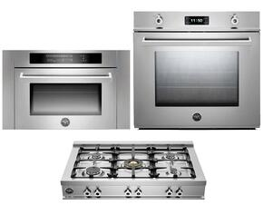 "Professional 3-Piece Stainless Steel Kitchen Package with F30PROXE 30"" Single Electric Wall Oven, CB36500X 36"" Gas Rangetop and SO24PROX Built In Microwave"