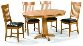 Family Dining FD-TA-L4260180-CNT-C  Extendable Dining Room Pedestal Table and 4 Chairs with  in Chestnut Finish