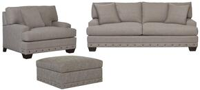 Carmine Collection 3917FCFC1561SCO 3-Piece Living Room Set with Sofa, Living Room Chair and Ottoman in Oatmeal