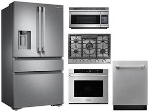 "Dacor 5 Piece Stainless Steel Kitchen Package With RNCT305GSNGH 30"" Gas Cooktop, PCOR30S 30"" Countertop Microwave, DTF36FCS 36"" French Door Refrigerator, RNO230S208V 30"" Electric Wall Oven and DDW24S 24"" Built In Dishwasher"