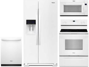 "4-Piece White Kitchen Package with WRS588FIHW 36"" Side by Side Refrigerator, WFE525S0HW 30"" Freestanding Electric Range, WDT730PAHW 24"" Fully Integrated Dishwasher and WMH53521HW 30"" Over-the-Range Microwave"