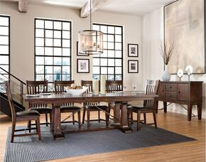 Hayden HY-TA-42100460-RSE-BSE  Extendable Dining Room Trestle Table and 6 Chairs with Distressed Detailing in Espresso