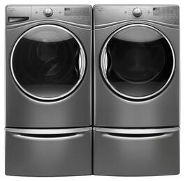 "Chrome Shadow Front Load Laundry Pair with WFW90HEFC 27"" Washer, WGD90HEFC 27"" Gas Dryer and 2 XHPC155YC Pedestals"