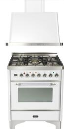 "2-Piece True White Kitchen Package with UM76DVGGBX 30"" Freestanding Gas Range and UAM76B 30"" Wall Mount Range Hood"