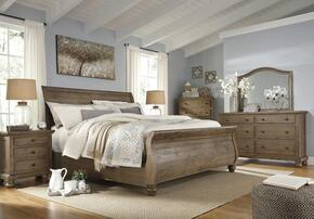 Trishley Queen Bedroom Set with Sleigh Bed, Dresser, Mirror and Nightstand in Light Brown