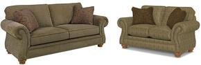 Laramie 5081SL/8491-26/8417-85 2-Piece Living Room Set with Sofa and Loveseat in 8491-26 Green with 8417-85 Pillows