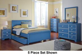 Bronilly Full Bedroom Set with Panel Storage Bed, Dresser, Mirror, Two Night Stands and Chest in Blue