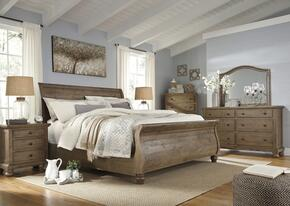 Trishley California King Bedroom Set with Sleigh Bed, Dresser, Mirror, 2x Nightstands and Chest in Light Brown